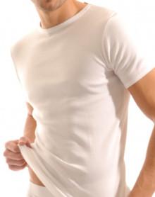 MARINER : T-shirt col rond côte fine - Blanc