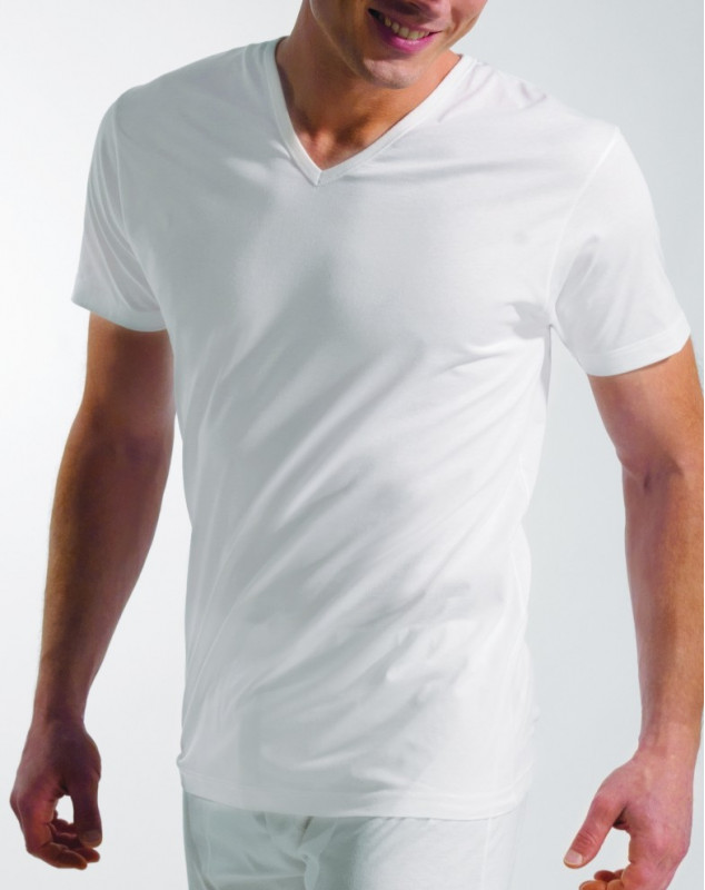 EMINENCE : maillot de corps col V Luxor (BLANC)