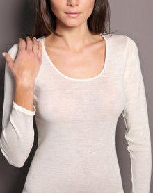 Camiseta Moretta mangas compridas lã & seda