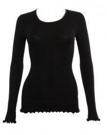 Top Moretta manches longues laine & soie noir (NOIR)