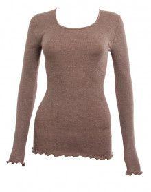 Moretta lana y la seda sabbia de manga larga (SABBIA)