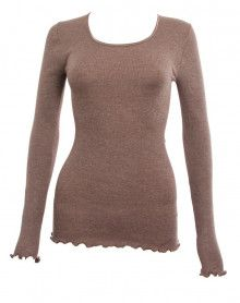 Top Moretta manches longues laine & soie sabbia