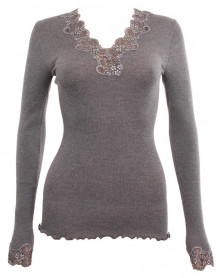 Top Moretta lace collar wool & silk Granit