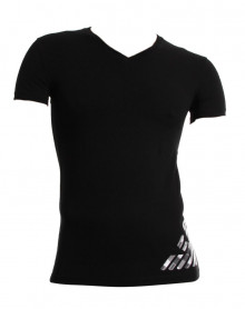T-shirt col V Armani Fancy Sylver Touch Eagle noir