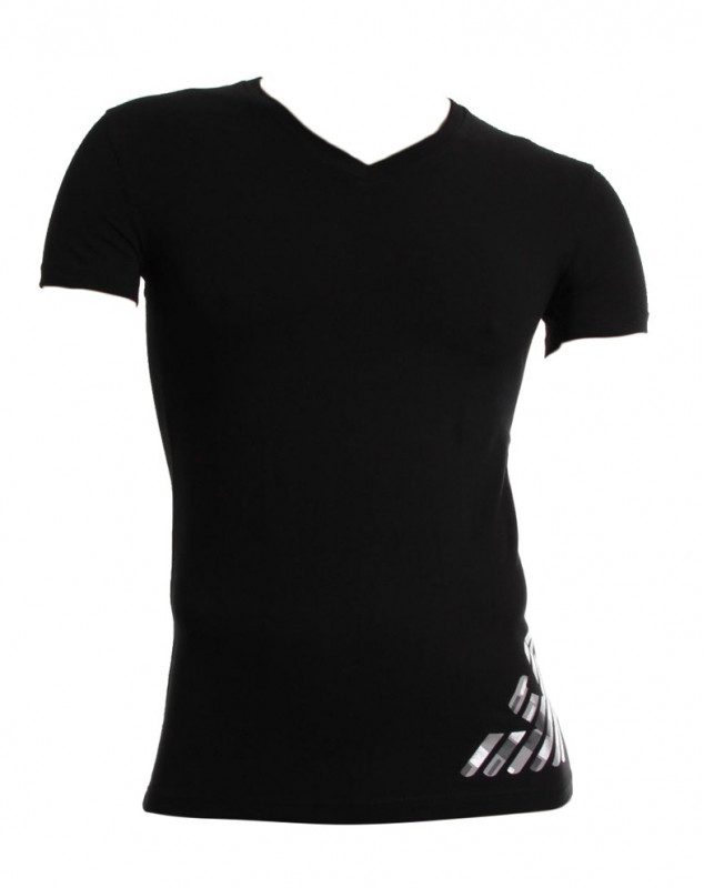 T-shirt col V Armani Fancy Sylver Touch Eagle noir (NOIR)
