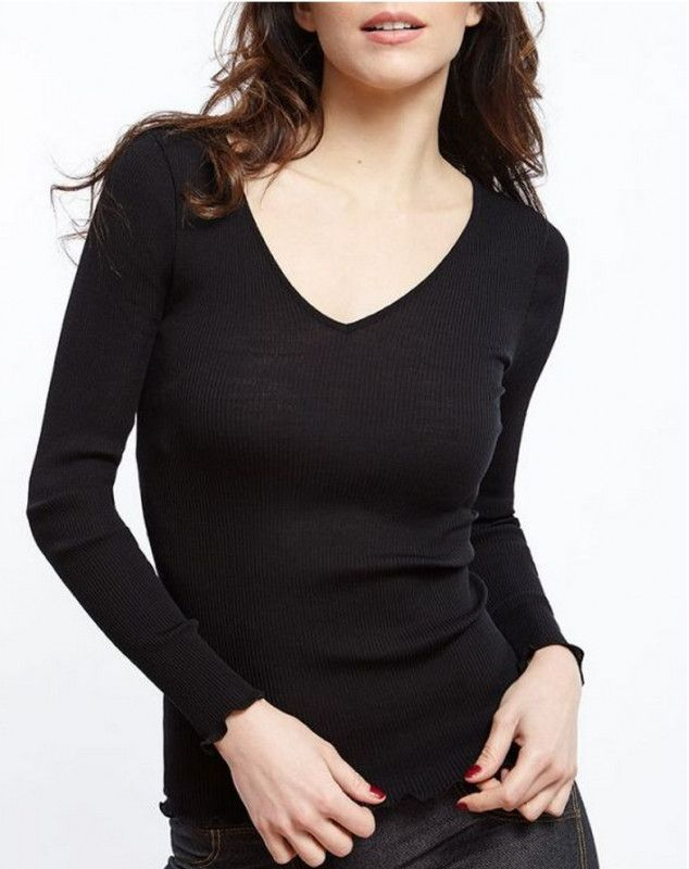 Oscalito V collar Long Sleeve Undershirt 3486 (Black)