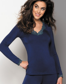 Tee shirt long sleeve V-neck Antigel Simply Perfect (Eclat Cobalt)