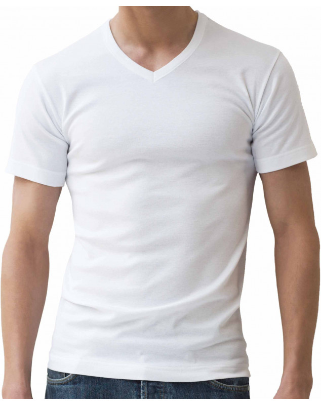 Tee-shirt Athéna Col V Bio (pack de 2) (BLANC)