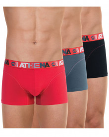 Lot of 3 Athena Boxers Endurance 24H (Red - Pepper - Black)
