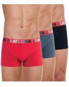 Lote de 3 Athena Boxers Endurance 24H (Rojo - Pimienta - Negro)