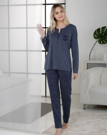 Pijama azul estampado leopardo Massana