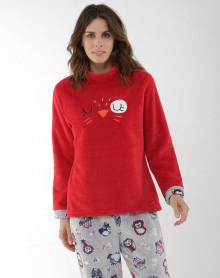 Pyjama polaire rouge et gris Massana