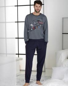 Pijama forma jogging azul gris Massana