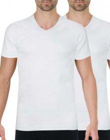Paquete de 2 camisetas Athena con cuello en V algodón orgánico (Blanco)