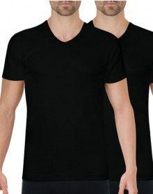 Paquete de 2 camisetas Athena con cuello en V algodón orgánico (Negro)