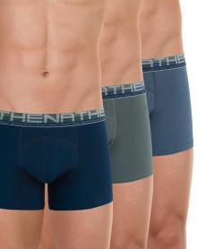 Paquete de 3 boxers Athena algodón orgánico (Azul marino - Estaño - Pimienta)