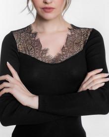 Moretta lana y la seda naturel de manga larga