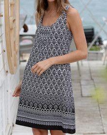 Beach dress with black lozenge pattern Massana