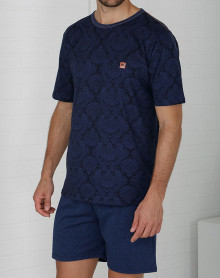 Pyjama short bleu petit logo Massana