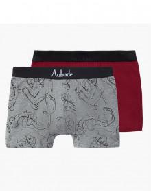Boxers Aubade Men (Love / Uni Bordeaux) (Lot de 2)
