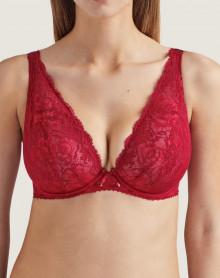 Plunge triangle comfort bra Aubade Aube Amoureuse (Rouge Amour)