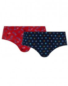 Pack of 2 High Waisted Briefs Closed Mariner Mercerized Jersey Printed (Motif Marine/Rouge)